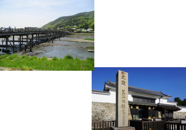 嵐山(渡月橋)から二条城
