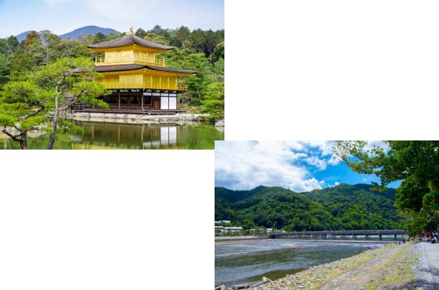 金閣寺から嵐山(渡月橋)